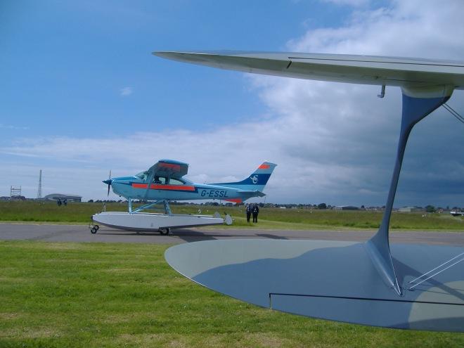 Cessna 182R Skyline G-ESSL lands at Daedalus during D-Day 70